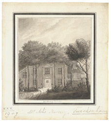 A drawn view of Mr Ash's nursery, Twickenham 1795